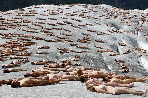 Aletsch Glacier, nude protest