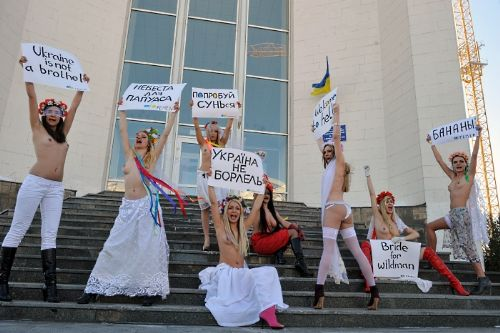 FEMEN, Ukraine is Not a Brothel protest