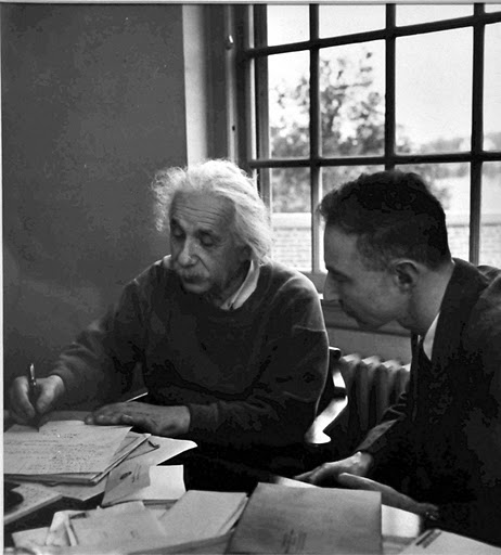 Albert Einstein and J Robert Oppenheimer