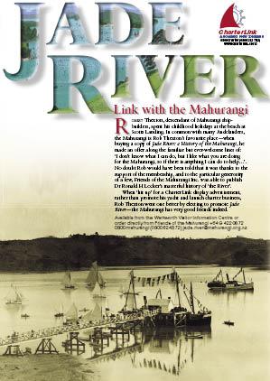 Display advetisement for Jade River: A History of the Mahurangi