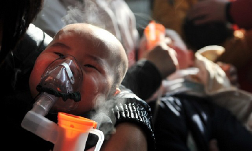 Chinese baby on nebuliser