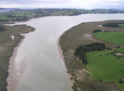 Aerial of Mahurangi River looking downstream from Hamiltons Landing