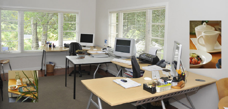 Lilburn Workspace office, with promotional insets