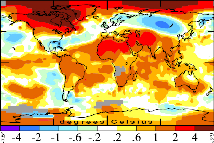 Mean surface temperature anomaly January to April 2010