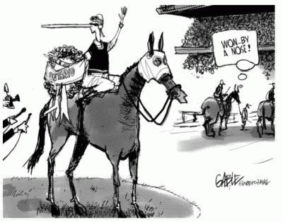 Ontario referendum By a Nose cartoon