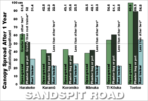 Sandspit Road spread bar chart 2009