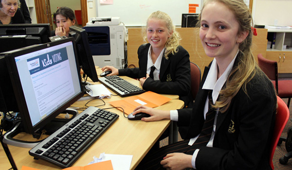 Baradene College students participating in Auckland Council's Kids Voting programme