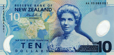 NZ$10 note, depicting Kate Sheppard