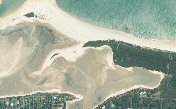 Awaroa Spit showing drowned property boundaries