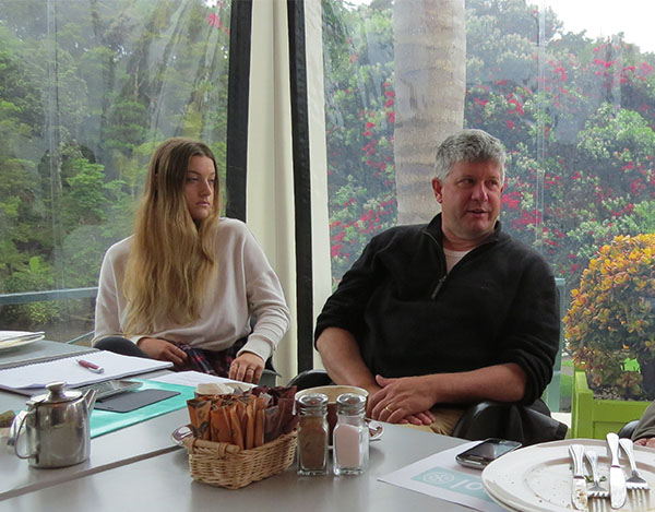 Tessa Berger and David Hay at December 2014 Mahurangi brainstorming breakfast