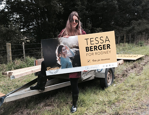 Tessa Berger billboard, Schedewys Hill