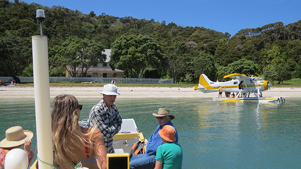 Pooh passengers and float plane