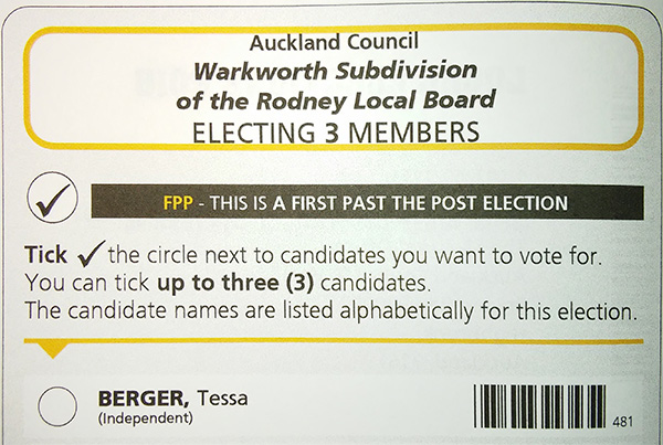 Rodney Local Board Warkworth subdivision ballot paper