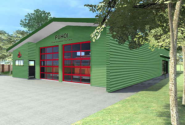 Rendering of Pūhoi's new fire station