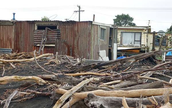 Homes under threat, East Beach, Waitara