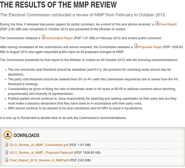 Results of the MMP review