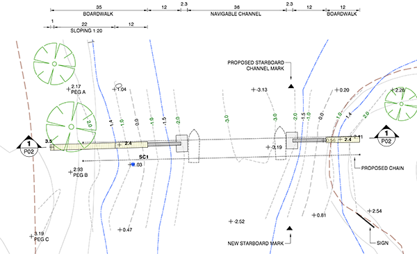 Non-extensible gangways, plan view