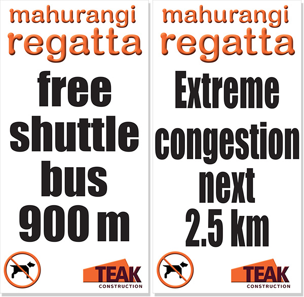 Free shuttle bus 900 metres sign