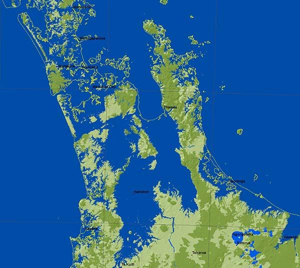 Mahurangi to King Country at 80-metre sea-level rise