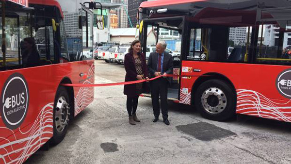 Associate Transport Minister Julie Anne Genter and Mayor Phil Goff launch battery-electric CityLink bus trial