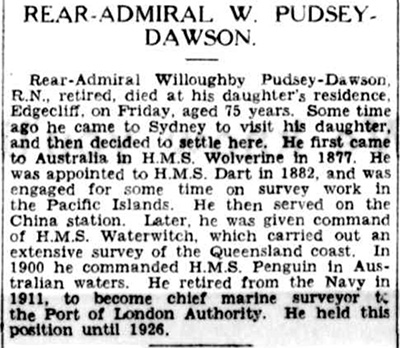 Obituary of Rear-Admiral W Pudsey-Dawson