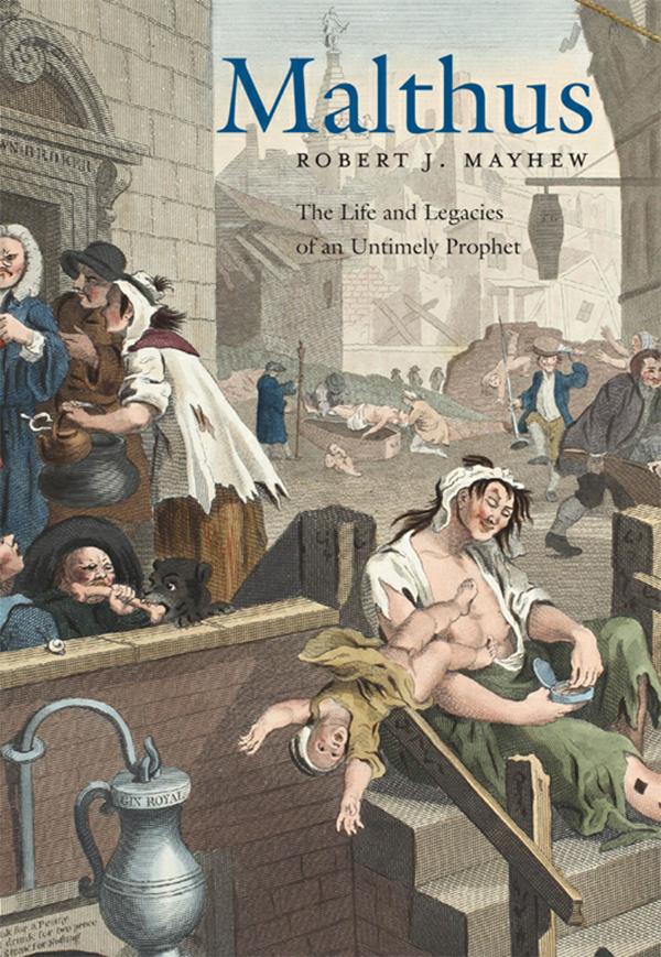 Malthus cover, Gin Lane by William Hogarth