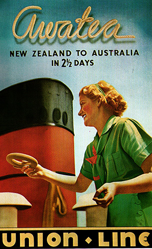 Awatea, 'New Zealand to Australia in 2½ days' poster