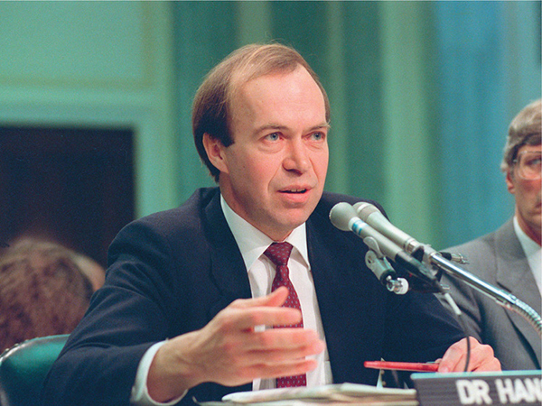 Dr James Hansen testifying to the United States Congress, 1988