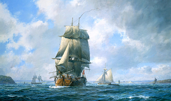 Close-up of the Endeavor Leaving Plymouth, by Geoff Hunt, from the Diploma Collection of the Royal Society of Marine Artists