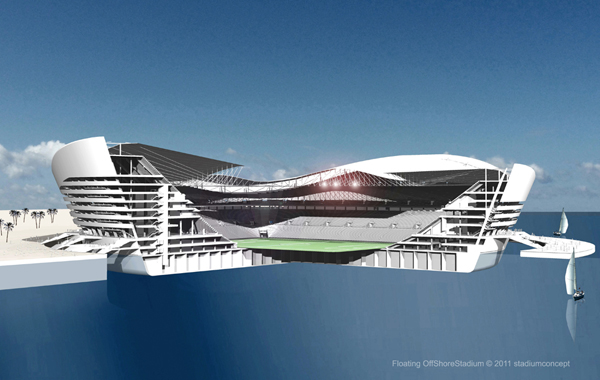 Floating stadium for FIFA World Cup 2022 in Qatar, section view