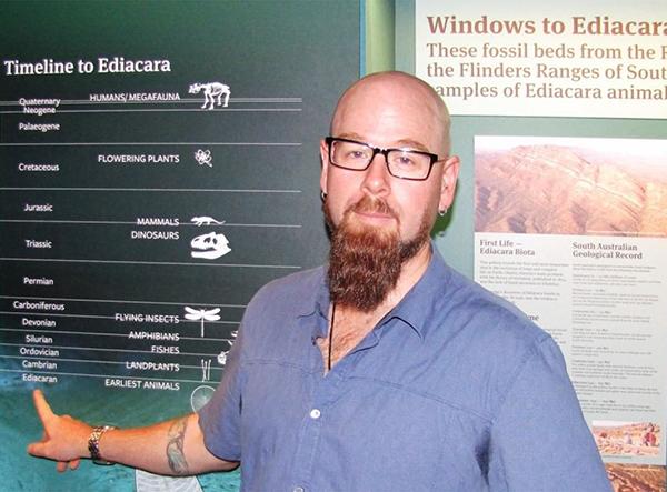 Professor Corey Bradshaw at the SA Museum Flinders Ranges fossil exhibition.