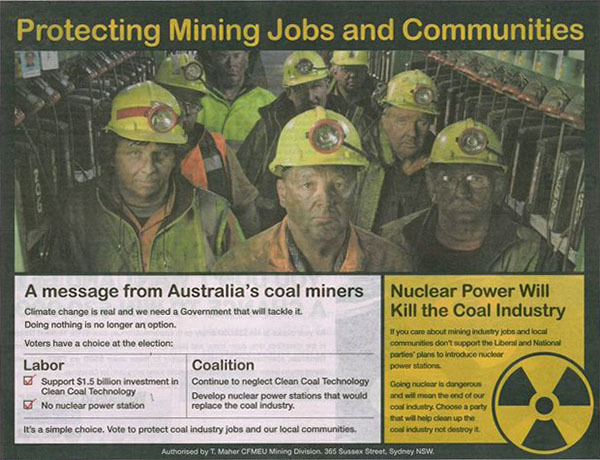 Anti-nuclear power Construction, Forestry, Mining and Energy Union newspaper display advertisement