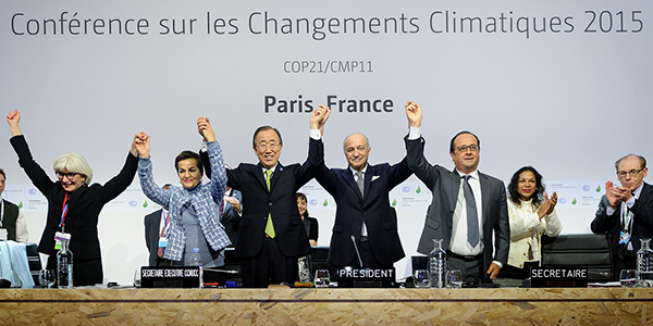 Officials celebrating Paris Agreement