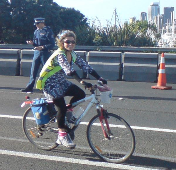 Christine Rose cycling Harbour Bridge, 2009