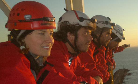 Lucy Lawless aloft on Arctic drillship