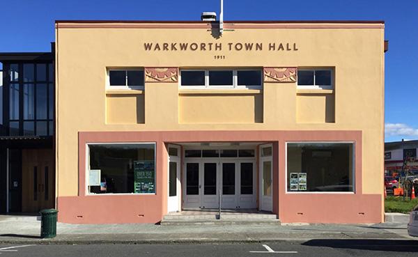 Warkworth Town Hall naming sign, option 2 sans date of façade