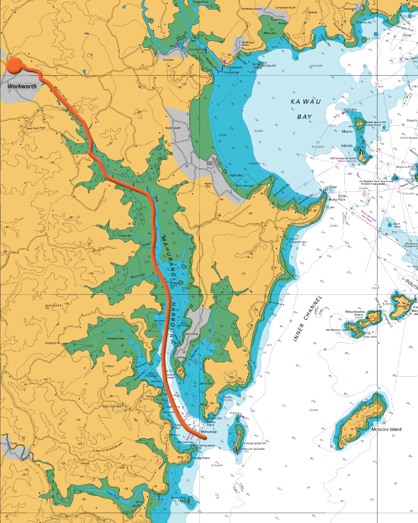Chart of the Mahurangi Harbour