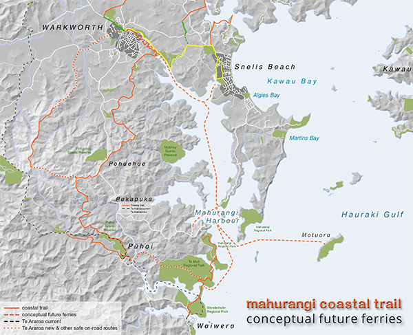 Map of future Mahurangi ferries