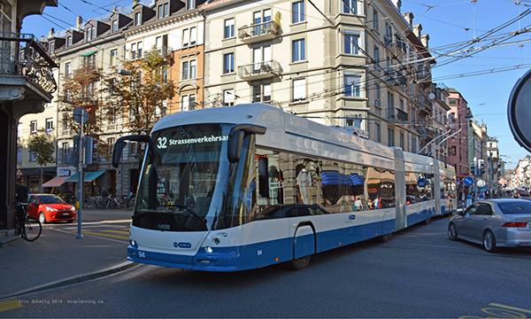 Articulated trolleybus, Zurich, Switzerland, 2018