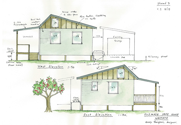 Plans for the climate-safe house being built in a partnership with Otago Polytechnic and others