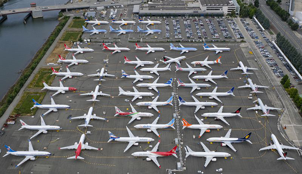 Undelivered 737 Max aircraft at Boeing, Seattle