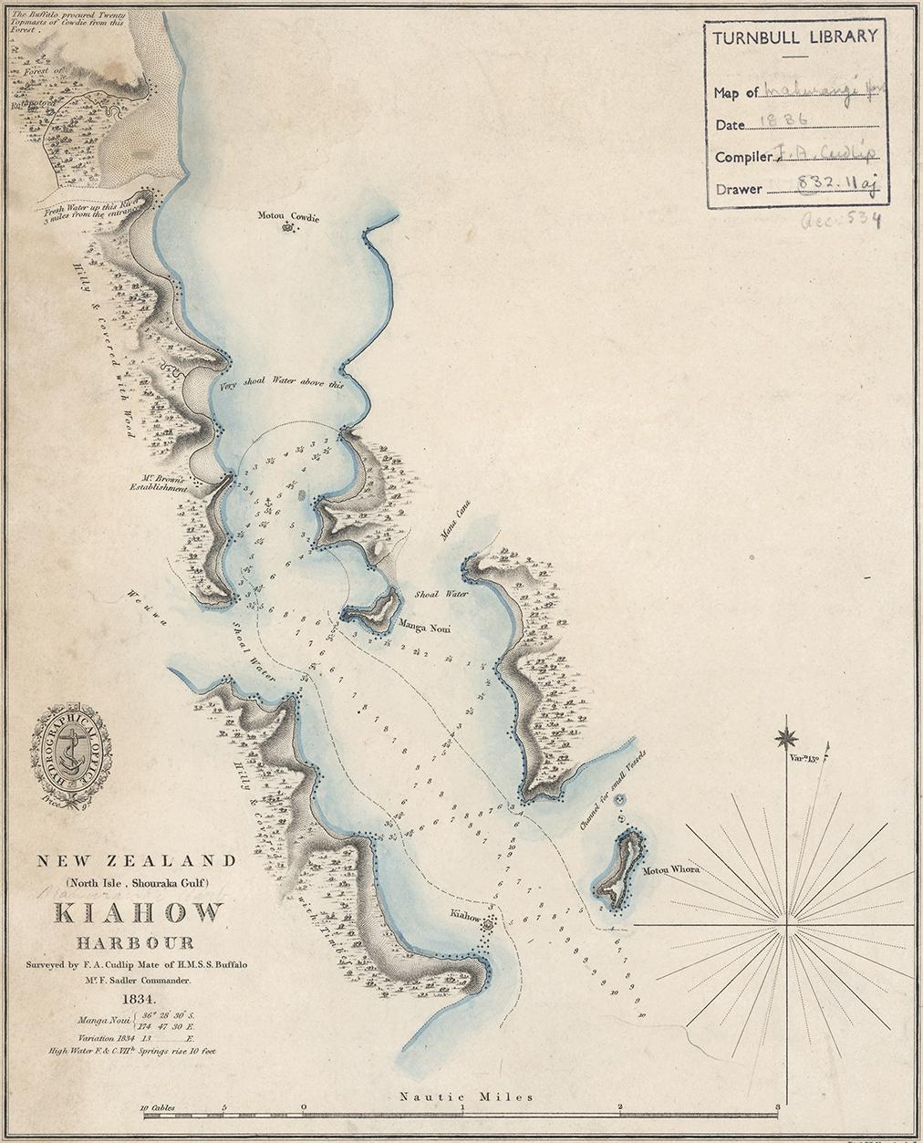 Frank A Cudlip chart of Mahurangi Harbour, 1834