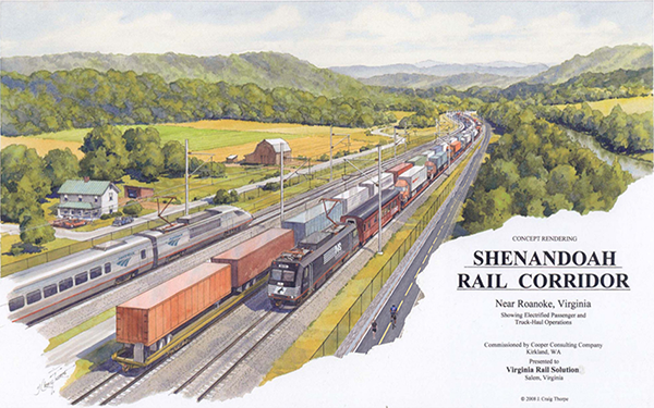 Rendering of Shenandoah rail-with-trail concept
