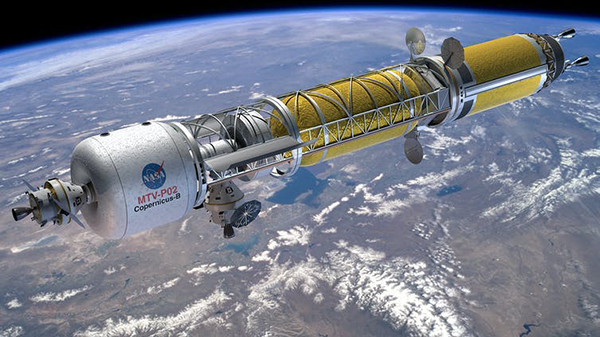 Rendering of nuclear-powered space ship, the Copernicus