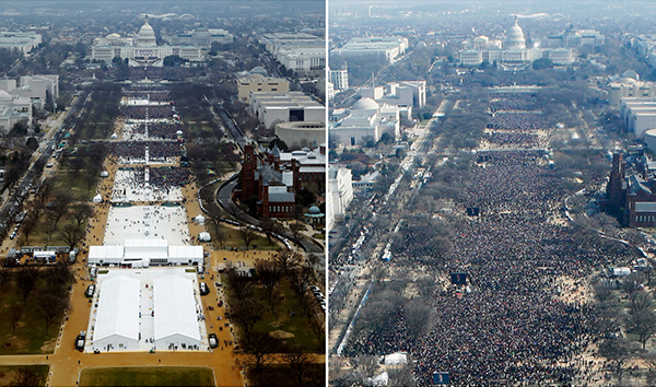 Trump inauguration crowd, left, and Obama's, right