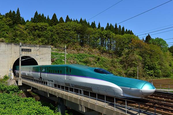 Shinkansen train exiting Seikan Tunnel