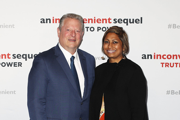 """Al Gore and Indira Naidoo at a special screening of """"An Inconvenient Sequel: Truth to Power"""" in Sydney, 2017"""