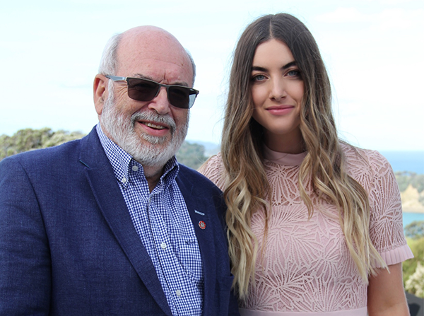 Tessa Berger and Distinguished Professor Sir Peter Gluckman at Te Muri Crossing charity cocktail party, 21 November 2020