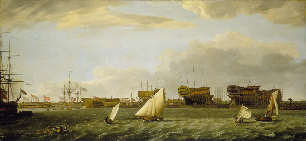 Blackwall Yard from the Thames, Francis Holman, 1784
