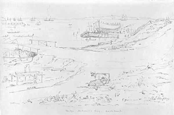 Bridge, Mechanics Bay, Charles Heaphy, circa 1850